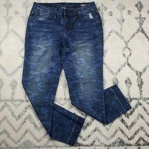 Jag Jeans Camo Mid Rise Slim Ankle Raw Hem